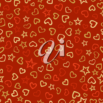 Doodles various hearts and stars on red background. Hand-drawn boundless background.