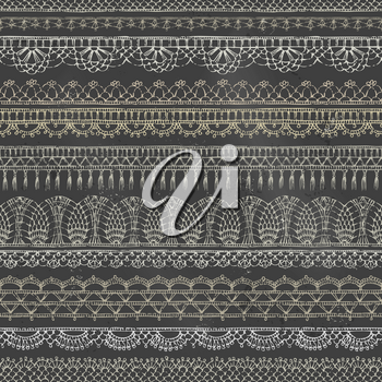 Sketch hand-drawn boundless background. Horizontal knitted crochet texture, handmade lacy decorations on blackboard background.