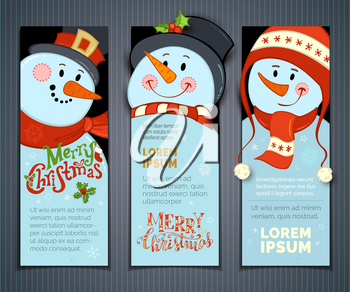 Cartoon smiling snowmen with hats and scarves. Holly berries, snowflakes and stars. Christmas backgrounds. There is copy space for your text.
