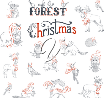 Vector set of woodland animals dressed in Santa hat and scarf. Contours of moose, bear, fox, wolf, deer, owl, hare, squirrel, raccoon, hedgehog and birds. Grey and red.