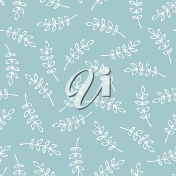 White outline rowan leaves on blue background. Nature boundless background. Tileable elements.