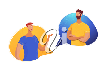 Father and son dialogue flat vector illustration. Cartoon young and mature man in speech bubbles isolated characters. Male friends, partners, colleagues sharing news, impressions, communicating