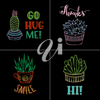 Linear colourful cactuses and succulents in flower pots and cup. Hand-drawn plants and lettering. Go hug me! Thanks. Smile. Hi!