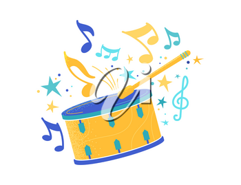Drum and stick flat vector illustration. Snare with drumstick, professional drummer equipment isolated clipart. Carnival, festival celebration. Percussion, kids toy. Musical instrument with notes