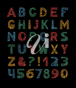 Christmas alphabet vector color outline typeset. Uppercase letters with winter season doodle patterns. Festive numbers and symbols set. New Year, winter season holidays celebration creative font
