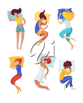 Sleeping women vector illustrations set. Female sleepers on pillows cartoon characters isolated on white background. Different sleeping poses, body positions. Bedtime, relaxation concept