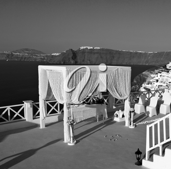 anniversary  and marriage cerimony in the sea of santorini greece island europe