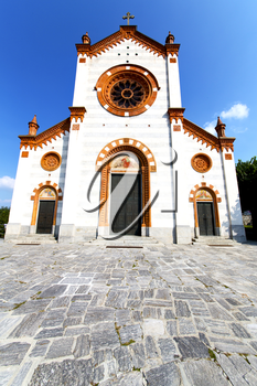 church  in  the    mercallo  closed brick tower sidewalk italy  lombardy     old