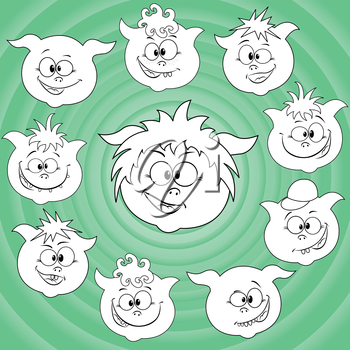 Funny small cartoon piglet faces around big pig face against the background of the turquoise concentric circles, hand drawing vector illustration