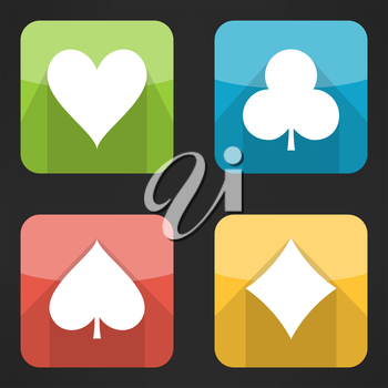 Bright playing cards suits icons set in modern flat design. Card symbols with long shadows. Vector