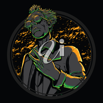 High detailed mad scientist illustration vector