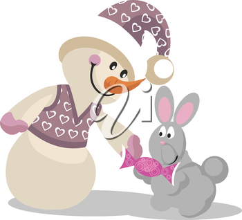 Royalty Free Clipart Image of a Snoman Giving a Present