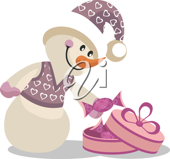 Royalty Free Clipart Image of a Snowman Opening a Present