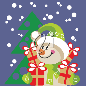 Royalty Free Clipart Image of a Snowman with Presents