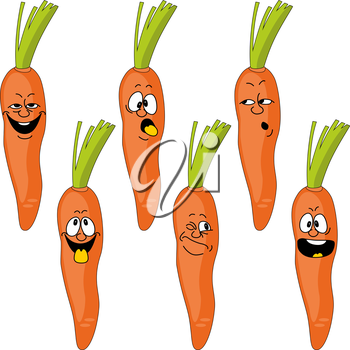 Royalty Free Clipart Image of a Carrot Set