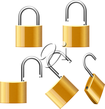 Set of Padlocks. Open and Closed. Vector illustration