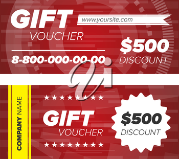 Red Gift voucher template with decorative elements