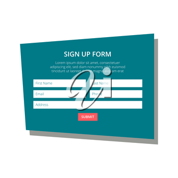 Sign up form in a flat design style on an emerald green background