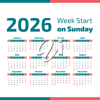 Simple 2026 year calendar, week starts on Sunday