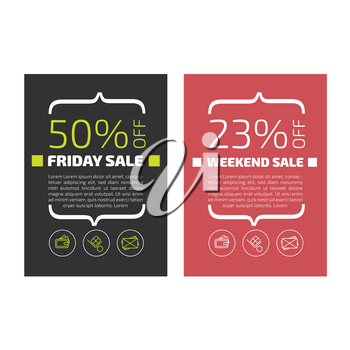 Friday sale banners set on black and red backgrounds