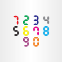 color digital stylized numbers from 0 to 9