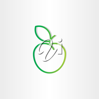 green apple with leaf icon design element