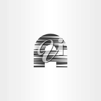 letter a black scratched vector icon design