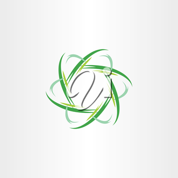 green quantum atom biology icon vector symbol