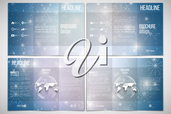 Vector set of tri-fold brochure design template on both sides with world globe element. Blue abstract winter background. Christmas vector style with snowflakes.