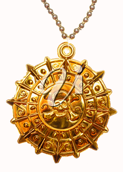 Gold medallion with skull and crossed bones isolated