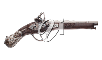 The ancient pistol isolated on white background