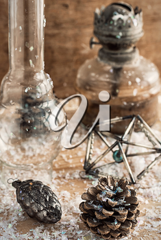 Christmas decoration with an oil lamp in retro style.