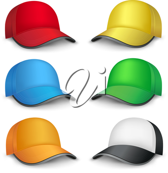 The multicolored mesh empty template cap on the white background