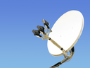 small satellite antenna on the blue sky background