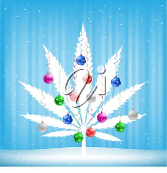 Growing cannabis hemp marijuana Christmas tree with colorfull balls on light white and blue snow background