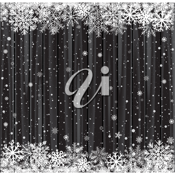 Snow and black wood background. Christmas dark wooden backdrop texture