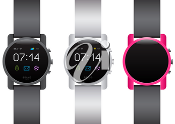 Circle smart watch set on white background. Different black white color smartwatches collection. Easy to edit