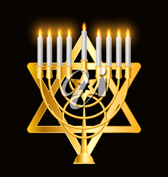 Happy Hanukkah, Jewish Background. Vector Illustration. Hanukkah is the name of the Jewish holiday.