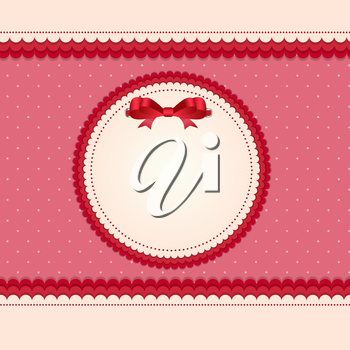 Vintage Card with Bow Vector Illustration. EPS10