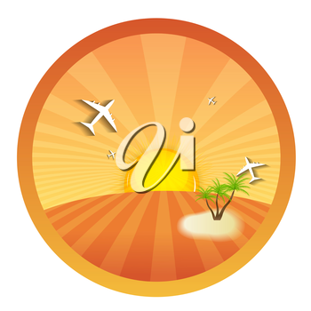 Travel Round Icons with the Landscape. Vector Illustration. EPS10