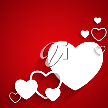 Happy Valentines Day Card with Heart. Flat  Vector Illustration