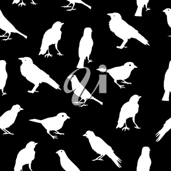 Birds Silhouettes Seamless Pattern Background Vector Illustration EPS10