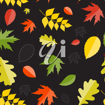Shiny Autumn Natural Leaves Seamless Pattern Background. Vector Illustration. EPS10