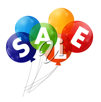Color Glossy Balloons Sale Concept of Discount. Vector Illustration.