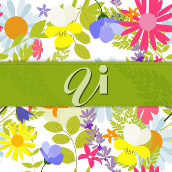 Abstract Natural Spring Background with Flowers and Leaves. Vector Illustration EPS10