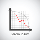 Drop chart on grid and gradient background, 2d illustration, vector, eps 8