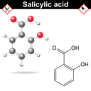 Salicylic acid - medical substance, chemical structural formula and model,  anti-inflammatory drug, 2d & 3d vector on white background, eps 8
