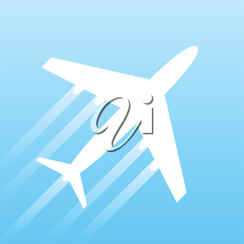 Airplane transport concept, 2d vector design on gradient background, eps 8