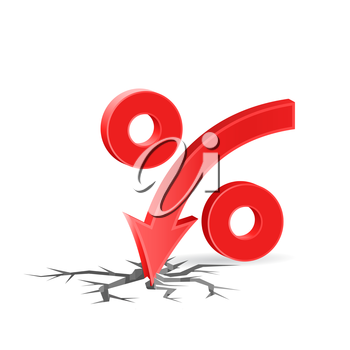 Percent down with cracked surface, low profit concept sign, 3d vector on white background, eps 10