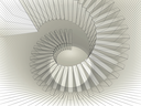 Abstract spiral structure perspective with wire-frame mesh lines. 3d render illustration
